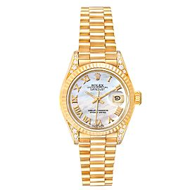 Rolex President Datejust 18K Yellow Gold Diamond Watch 69188