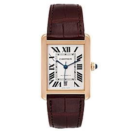 Cartier Tank Solo XL Rose Gold Silver Dial Steel Mens Watch W5200026