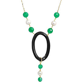 Leaderline 18K Yellow Gold Pearl Green Jade & Ebony Wood Necklace