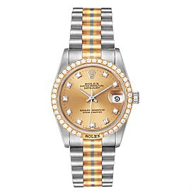 Rolex President Tridor 31mm Midsize White Yellow Rose Diamond Watch 68149