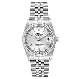 Rolex Datejust Steel White Gold Silver Baton Dial Mens Watch 16234
