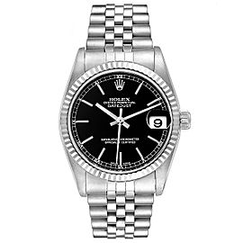 Rolex Datejust Midsize Steel White Gold Black Dial Ladies Watch 78274