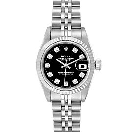 Rolex Datejust Steel White Gold Black Diamond Dial Ladies Watch 69174
