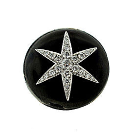 Boucheron 18K White Gold Diamond Star Black Enamel Cocktail Ring