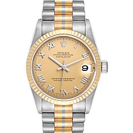 Rolex President Tridor 31 Midsize White Yellow Rose Gold Ladies Watch 78279