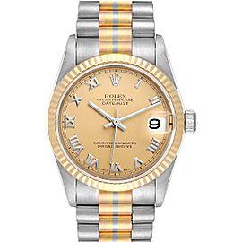 Rolex President Tridor 31 Midsize White Yellow Rose Gold Ladies Watch 78279