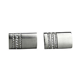 Montblanc Stainless Steel 3 Rings Pave Diamond Cufflinks