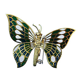 Cartier 18K Yellow Gold, Ruby & Plique-a-Jour Enamel Mechanical Butterfly Brooch