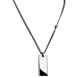 Montblanc Stainless Steel & Tungsten Inlay Dog Tag Necklace With Chain