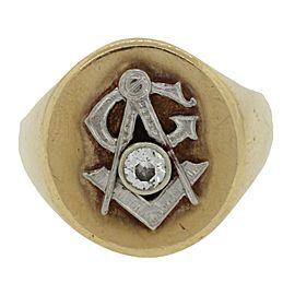 14K Yellow Gold Diamond Masonic Ring Size 11.25