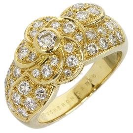 Boucheron 18K Yellow Gold Flower Diamond Band Ring Size 5.75