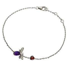 Chaumet 18K White Gold Amethyst & Diamond Chain Bracelet