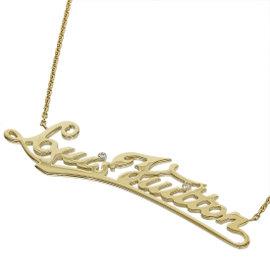 Louis Vuitton 18K Yellow Gold & Diamond Collier I.D Logo Necklace