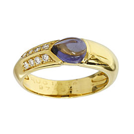 Rugiada 18K Yellow Gold Amethyst & Diamond Ring Size 9