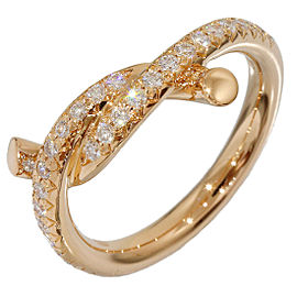 Cartier 18K Rose Gold Entrelaces Diamonds Design Ring Size 3.5
