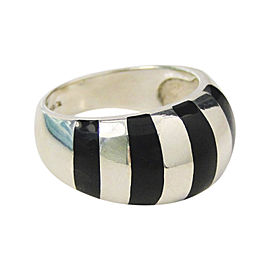 Tiffany & Co. Black Enamel & Sterling Silver Stripes Stripe Dome Ring