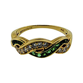 Tiffany & Co. 18K Yellow Gold Diamond & Emerald Band