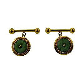 22K Yellow Gold & Jade Cufflinks