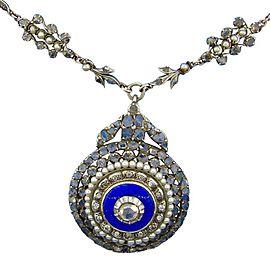 12K Gold Silver Diamond Blue Enamel Necklace