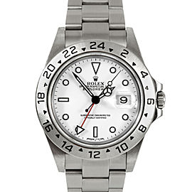 Rolex Explorer II 16570 Stainless Steel White Dial Oyster Flip-lock Band 40mm Mens Watch