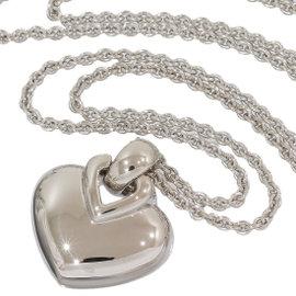 Bulgari 18K White Gold Heart Motif Necklace Pendant