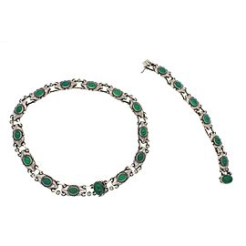 Georg Jensen 925 Sterling Silver Green Chrysoprase Necklace Bracelet