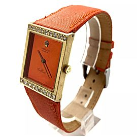 Rolex Cellini 18K Yellow Gold / Leather with Orange Dial 22.5mm Womens Watch
