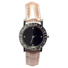 Bulgari Stainless Steel & Pearl Pink Leather w/ Diamonds Quartz 26mm Womens Watch