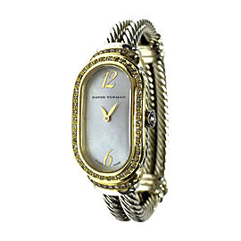 David Yurman 18K Yellow Gold & 925 Silver with Custom Diamonds 19.5mm Womens Watch
