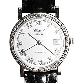 Chopard 18K White Gold Ladies W/ Diamond Bezel & Band 27mm Womens Watch