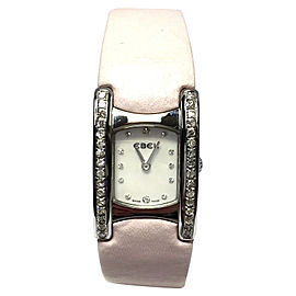Ebel Beluga Manchette Stainless Steel with Diamonds & Pink Leather Band 19.15mm Womens Watch