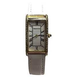 Tiffany & Co. Atlas 14K Yellow Gold / Leather with White Dial 16.5mm Womens Watch