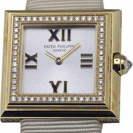 Patek Philippe Gondolo 4869J 18K Yellow Gold & Leather wDiamonds Quartz 27mm Womens Watch