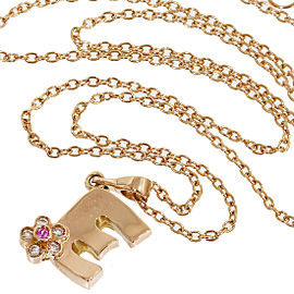Ponte Vecchio 18K Rose Gold with 0.02ct. Diamonds & 0.01ct. Pink Sapphire E Flower Necklace