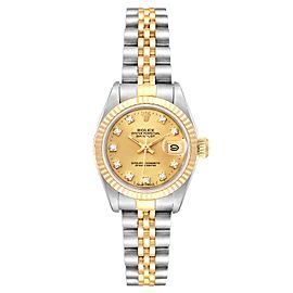 Rolex Datejust 26 Steel Yellow Gold Diamond Dial Ladies Watch 69173