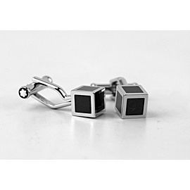 MONTBLANC CUBE CUFFLINKS ICONIC LINES STEEL BLACK LACQUER NEW GERMANY 111307