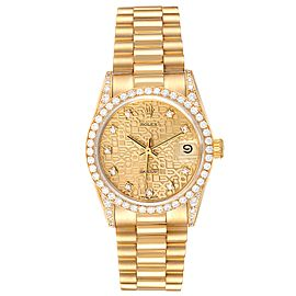 Rolex President Midsize 18K Yellow Gold Diamond Ladies Watch 68158