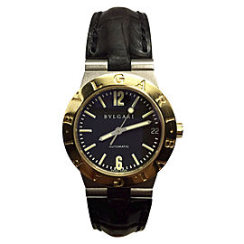 Bulgari 18K Yellow Gold & Titanium Black Leather Automatic 29.50 Unisex Watch