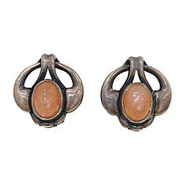 Georg Jensen 925 Sterling Silver Coral Clip Earrings