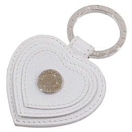 Bulgari 925 Sterling Silver BB Heart Leather Key Ring
