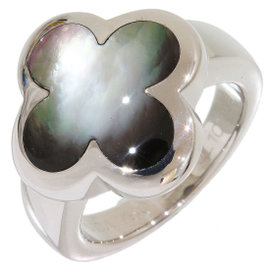 Van Cleef & Arpels Alhambra 18K White Gold Shell Ring 4.25