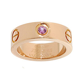 Cartier Love 18K Rose Gold Pink Sapphire Ring Size 3.75