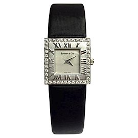 Tiffany & Co. Atlas 18K White Gold / Leather 21.10mm Womens Watch