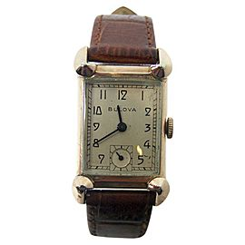 Bulova 14K Rose Gold Filled Vintage 21.3mm Mens Watch Year 1940