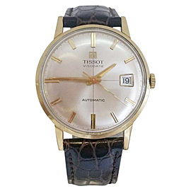 Tissot Visodatate 18K Yellow Gold / Leather Vintage 34.5mm Mens Watch