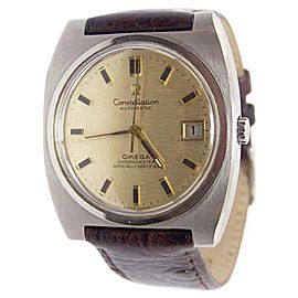 Omega Constellation Stainless Steel / Leather Vintage 36mm Mens Watch