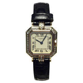 Cartier 18K Yellow Gold with Diamonds 22mm Womens Vintage Watch