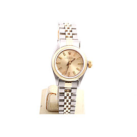 Rolex Oyster Perpetual 2tone Yellow Gold / Stainless Steel Champagne Stick Dial 24mm Womens Watch