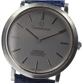 Omega Constellation Stainless Steel & Leather Silver Dial Automatic 34.5mm Men's Vintage Watch