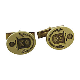 Cartier 18K Yellow Gold Engraved Crest Cufflinks
